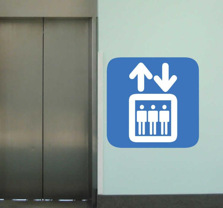 TenStickers. Sticker teken lift. Geef met behulp van deze sticker aan dat er zich dicht in de buurt een lift bevindt. Ideaal voor commerciële zones.