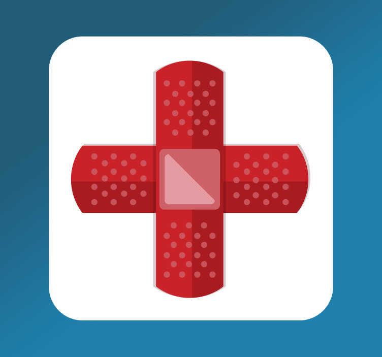 Tenstickers. Första hjälpen skylt klistermärke. En utmärkt ikon vägg klistermärke som illustrerar ett första hjälpen tecken! Se till att du gör alla medvetna om var närmaste första hjälpen kit finns.