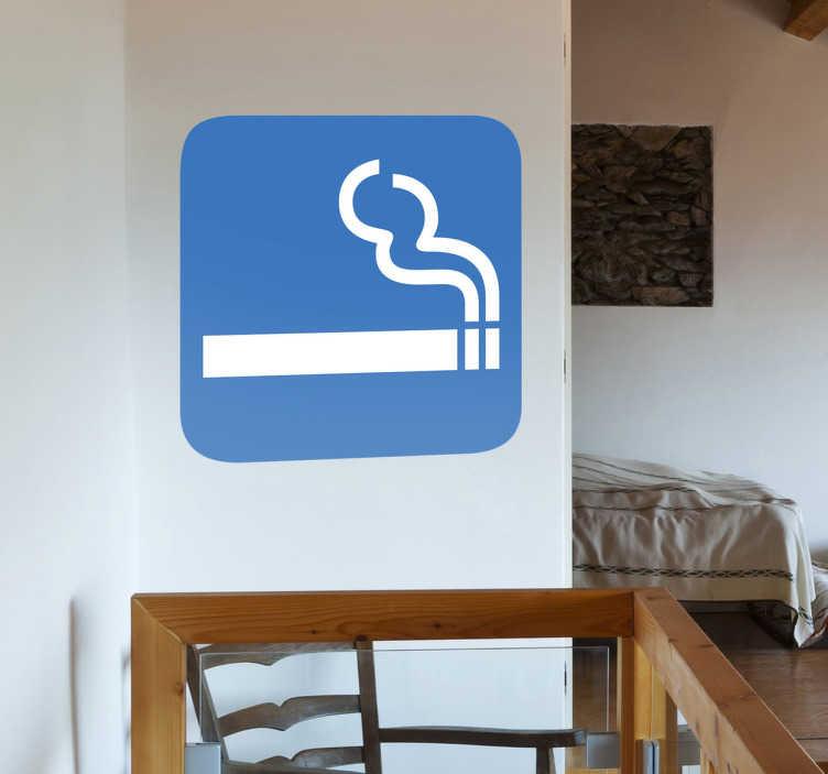 TenStickers. Sticker aangeven rokersruimte. Muursticker van een witte sigaret op een blauwe achtergrond. Geef met behulp van deze sticker aan waar uw klanten of gasten mogen roken.