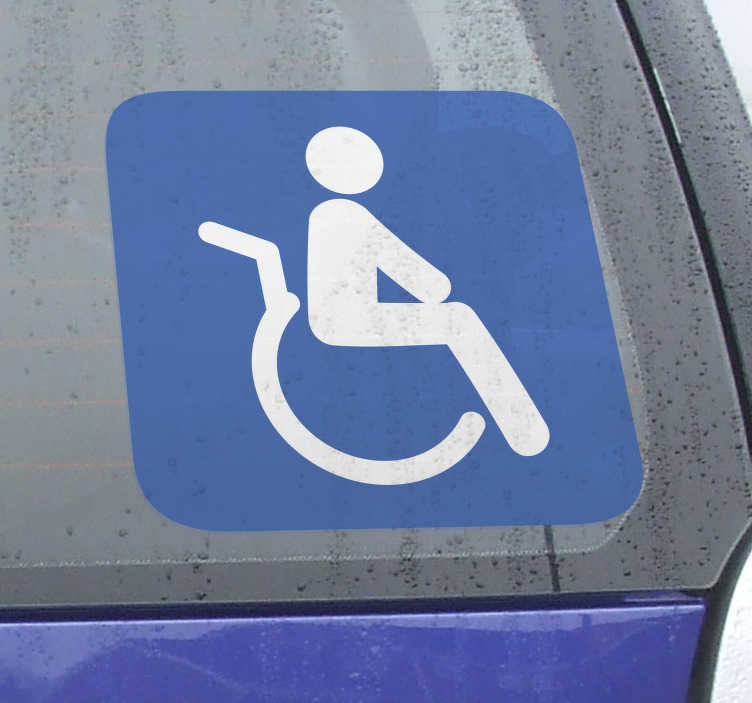 TenStickers. Adhésif signalisation personnes invalides. Stickers illustrant un panneau indiquant une zone adaptée aux personnes à mobilité réduite. Idéal pour les devantures de magasins.