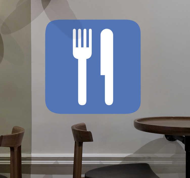 TenStickers. Autocolante decorativo ícone restaurante. Autocolante decorativo ilustrando um de ícone de restaurante, com uma faca e um garfo, perfeito para a decoração de negócios ligados à restauração.
