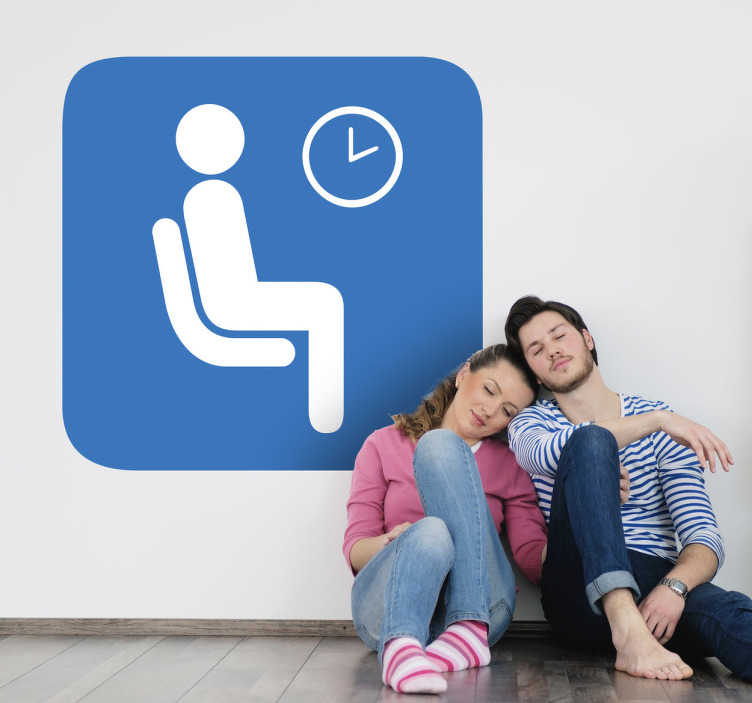 TenStickers. Waiting Room Sign Sticker. A decorative decal of a waiting room sign. Perfect to decorate places where your client has to wait, a clear sign that everyone will understand!