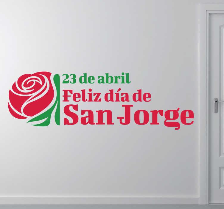 TenVinilo. Adhesivo decorativo 23 San Jorge. Original diseño en vinilo de dos colores para conmemorar el día del libro y la rosa.