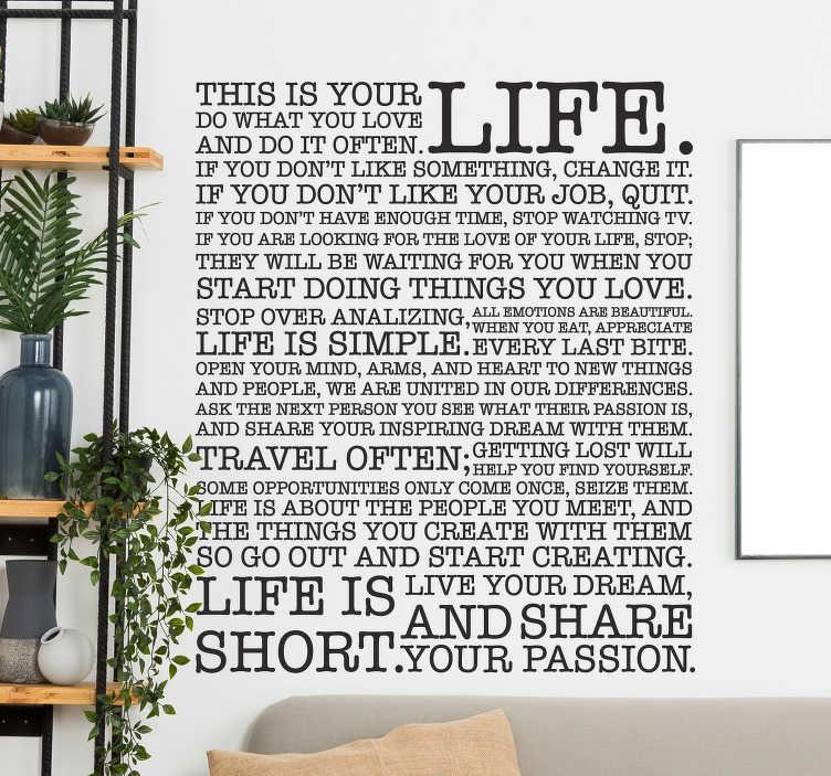 TenStickers. Autocollant mural leçons de vie. Stickers mural texte avec quelques leçons de vie et de conseils.