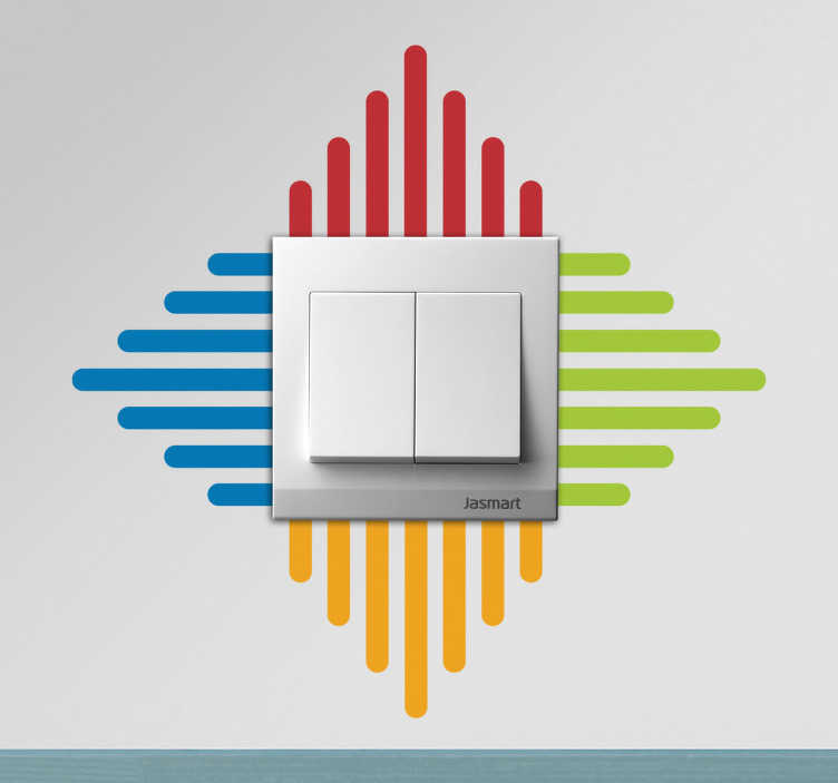 TenStickers. Bunte Linien Aufkleber. Bringen Sie Farbe an Ihre Wand und lassen Sie Ihren Lichtschalter mit diesem Sticker in neuem Glanz erstrahlen.