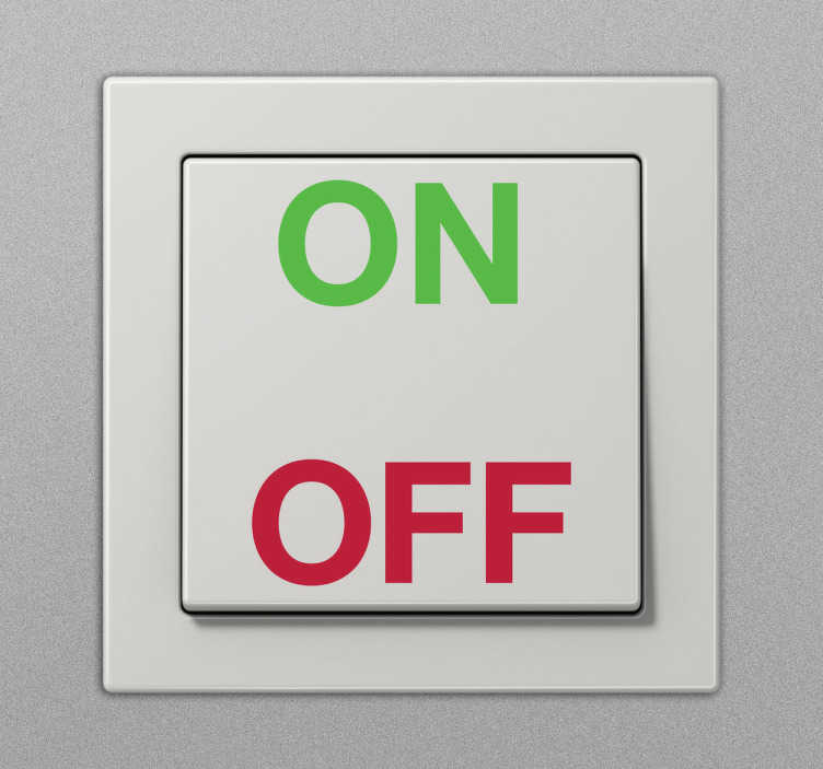 "TenStickers. On Off Decal. ""On"" and ""Off"" text decal for light switches. Use this green and red vinyl sticker to clearly mark the on and off button for your light switch. Available in various sizes. Long lasting decals made from high quality vinyl."