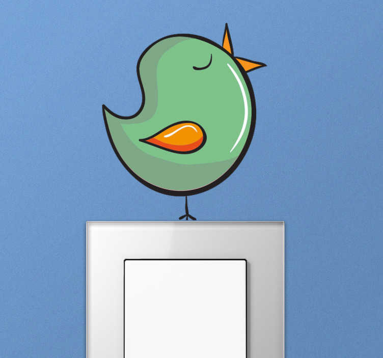 TenStickers. Sticker para interruptor com pássaro a cantar. Vinil decorativo original ilustrando um pássaro a cantar, em cima do seu interruptor de luz!