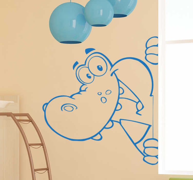 TenStickers. Crocodile Kids Sticker. Cartoon kids sticker of a happy cheeky crocodile. Design blends in well with any coloured background. Wild animal themed wall sticker is easy to apply and available in various colours and sizes.