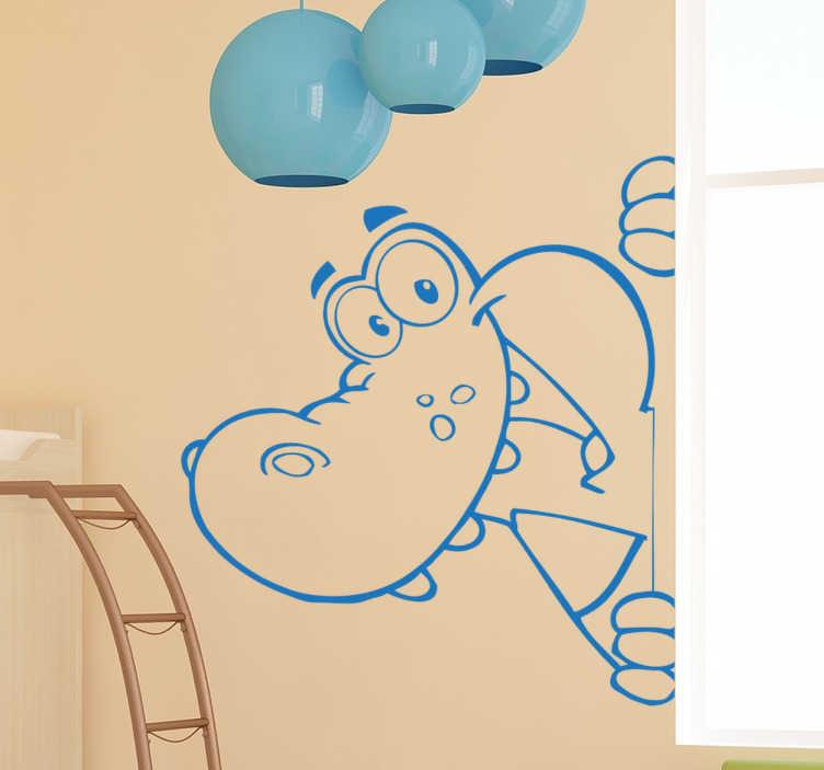 TENSTICKERS. クロコダイルキッズステッカー. 幸せな生意気なワニの漫画の子供のステッカー。すべての色の背景とよく調和しています。野生動物のテーマの壁のステッカーは、適用しやすく、さまざまな色やサイズで利用可能です。