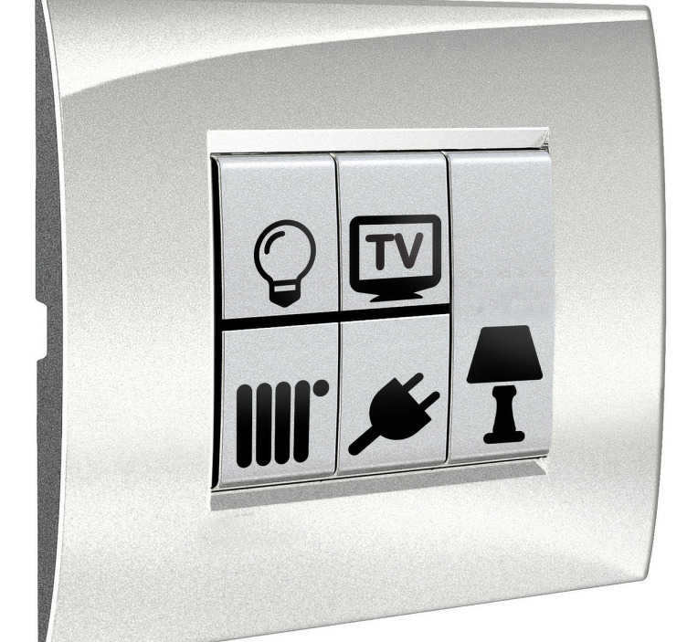 TenVinilo. Sticker iconos para apagador. Sticker iconos para apagador. Indica para qué es cada clavija o enchufe de casa con esta colección de pegatinas.