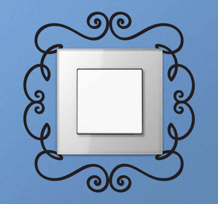 TenStickers. Naklejka na włacznik światła ornament. naklejka na włącznik światła. naklejki na ścianę w kształcie ornamentu. naklejki dekoracyjna na włączniki światła.