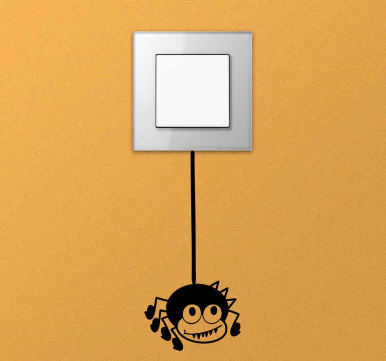 TenStickers. Lichtschalter Aufkleber Comic Spinne. Ein lustiger Lichtschalter Sticker mit Comic Spinne zur Dekoration von Lichtschaltern und Steckdosen. Produktion an einem Tag