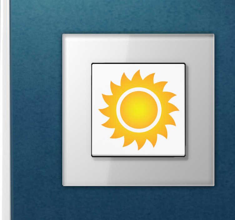 TenStickers. Naklejka na włącznik światła słońce. Naklejka przedstawiająca słoneczko do przyklejenia na włącznik światła, idealna naklejka do ozdoby salonu czy sypialni.