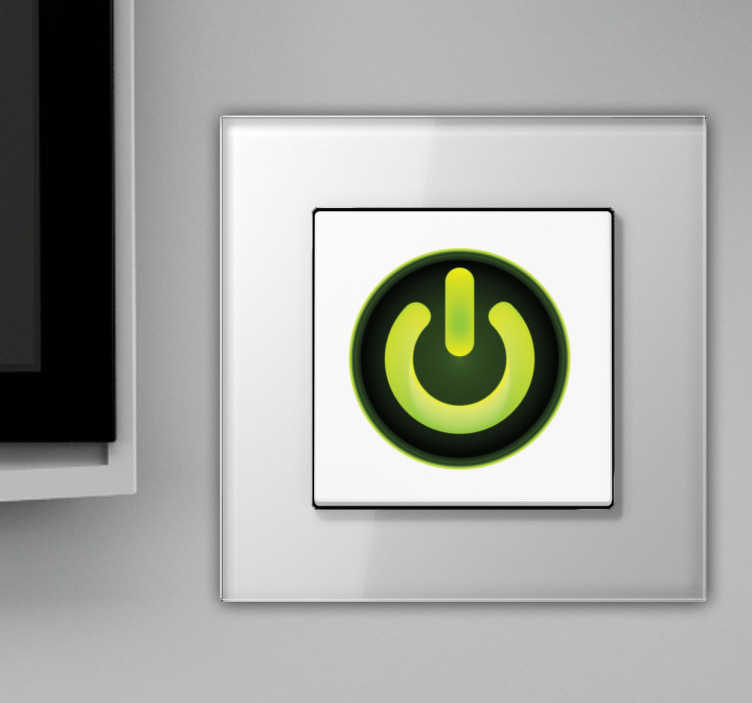 TENSTICKERS. 電源スイッチステッカー. この電源ボタンの壁のステッカーであなたのライトスイッチを飾る。このシンプルで目を引く技術のステッカーは、あなたの家のインテリアにその小さなタッチを追加するか、単にどのボタンが物事をオンとオフにするかを人々に知らせるのに最適です。