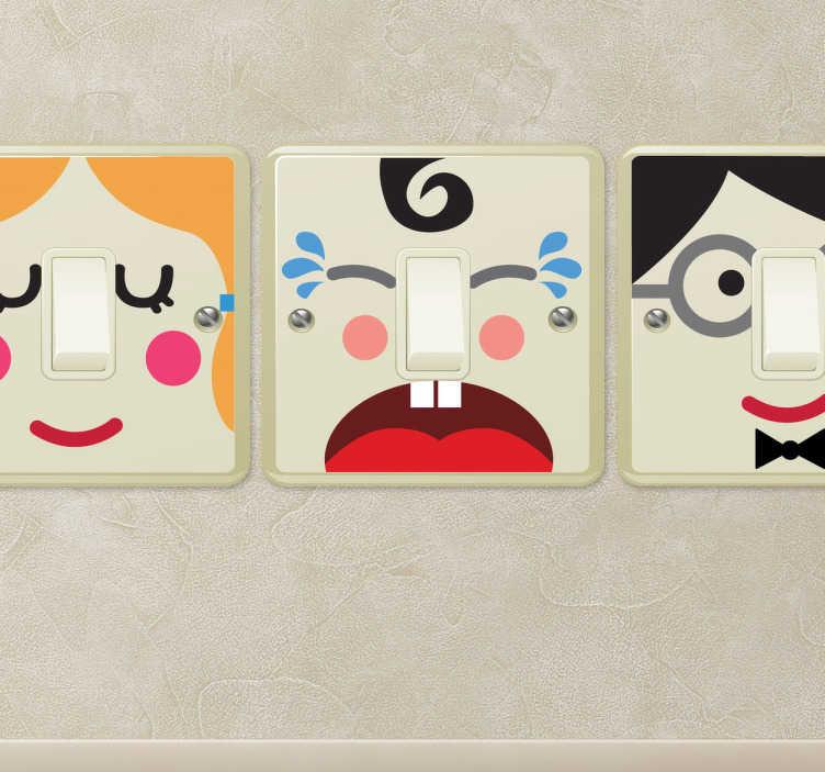 TenStickers. Naklejka na włącznik postacie. Oryginalna kolekcja naklejek do dekoracji włączników światła, które przedstawiają ciekawe twarze rysunkowych postaci.