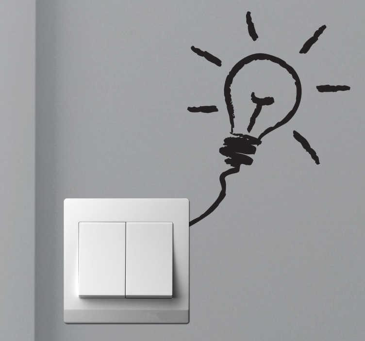 TenStickers. Naklejka na ścianę żarówka. Naklejka na ścianę przedstawiająca żarówkę. Obrazek możesz umieścić koło włącznika światła, który nada mu niepowtarzalny wygląd.