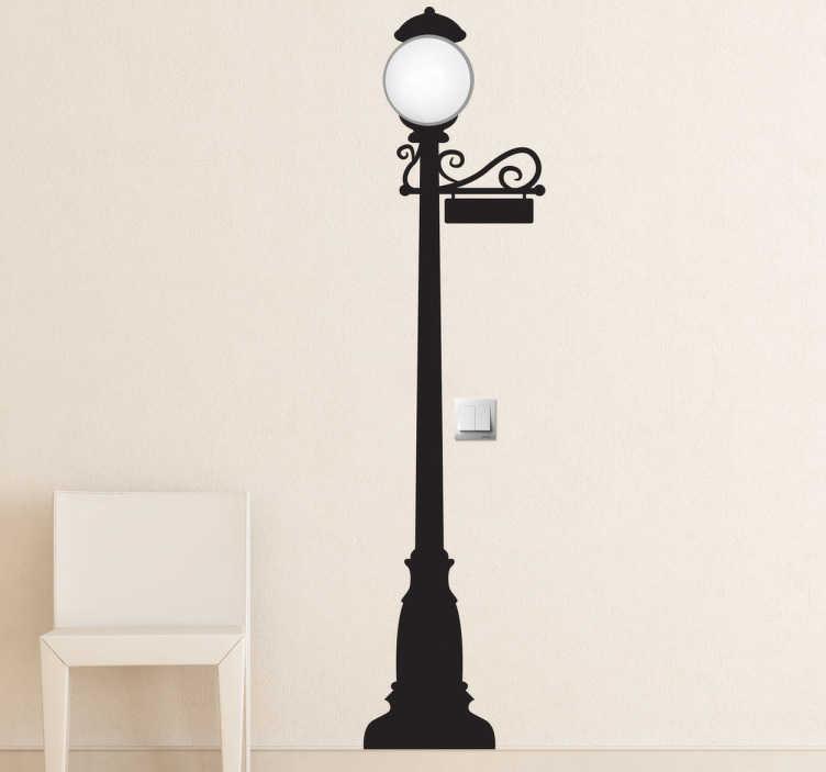 TENSTICKERS. 街灯ステッカー. あなたの家に壮大な雰囲気と古典的な外観を与えるエレガントな街灯のヴィンテージウォールステッカー。