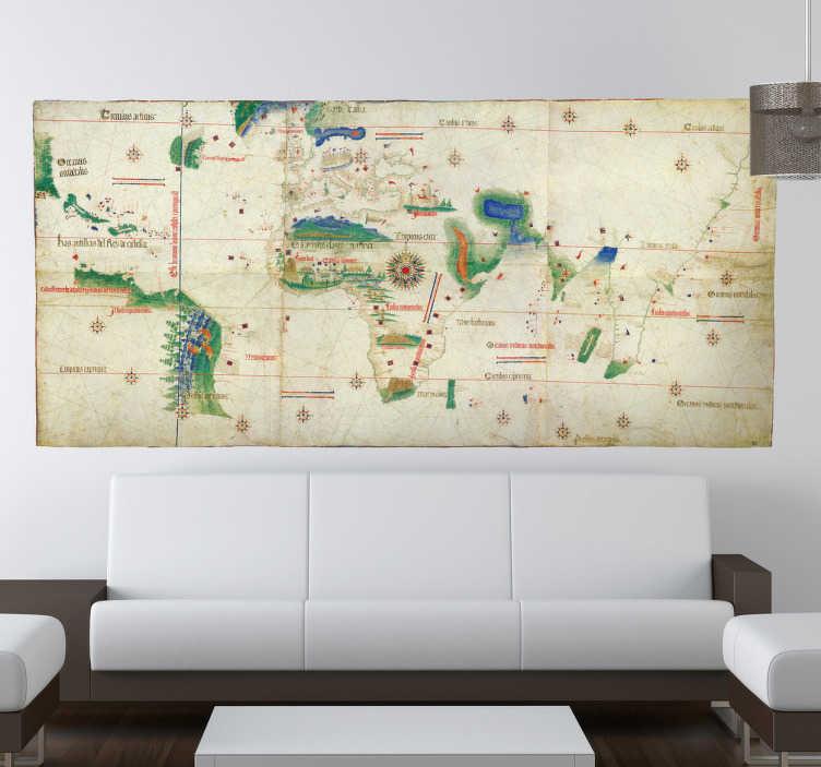TenStickers. Wandaufkleber Weltkarte Antik. Wandtattoo einer antiken Weltkarte. Abgebildet ist eine alte Weltkarte mit vielen unerforschten Gebieten wie sie die Menschen früher kannten.