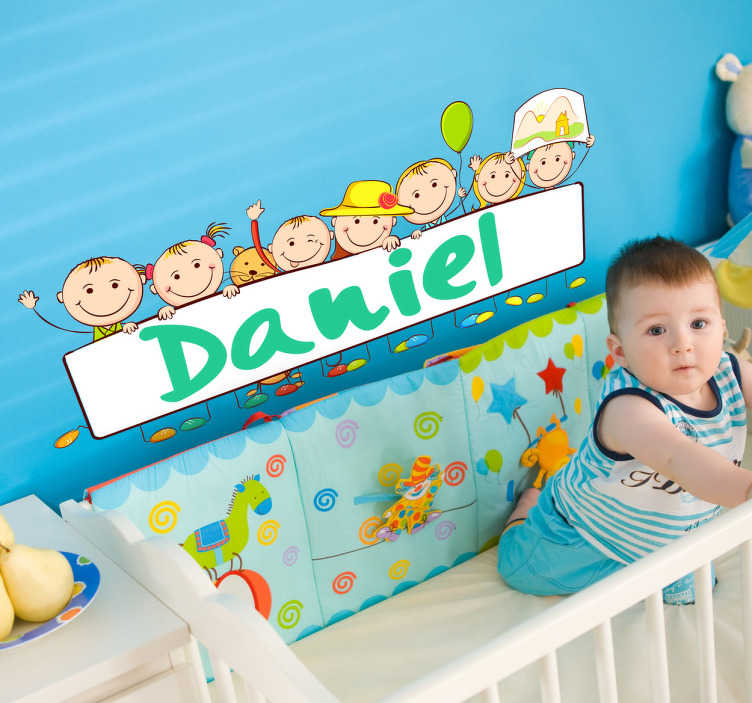 TenStickers. Personalised Name Baby Sticker. Use this custom wall sticker to personalise your child's room with their name to wish them a warm welcome every time go into their room.