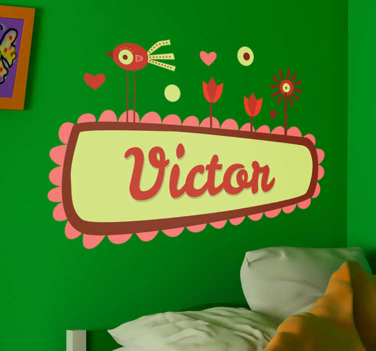 """TenStickers. Naklejka na ścianę dla dzieci rysunek twoje imie. Naklejka dekoracyjna z miejscem na Twoje imie. Wystarczy, że podczas dokonywania kupna, wpiszesz wybranie imię w polu """"Uwagi dotyczące zamówienia""""."""