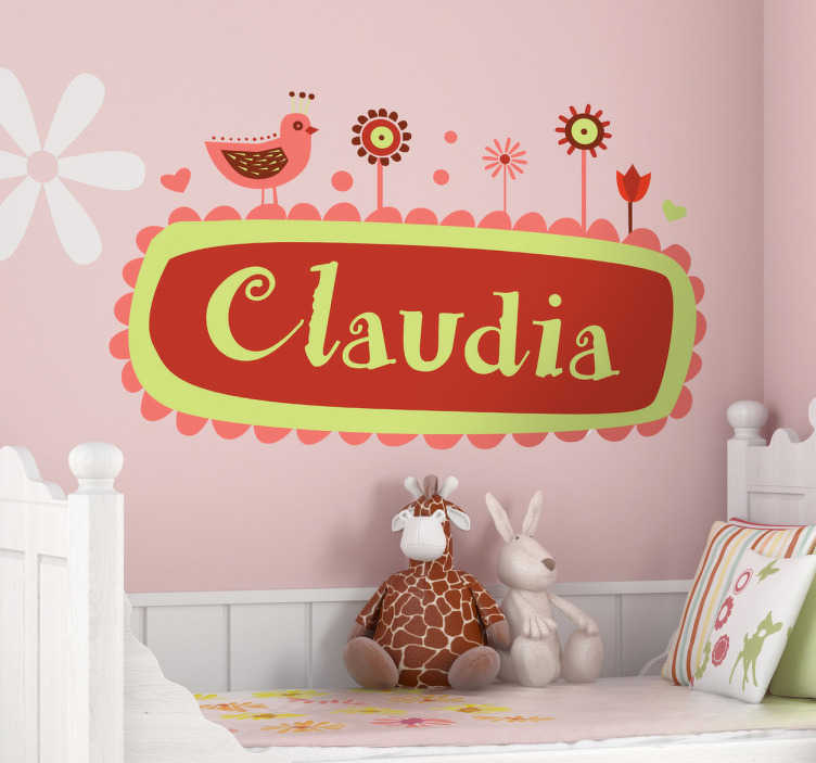 TenStickers. Sticker kind naam kinderkamer. Een leuke muursticker voor het personaliseren van de kinderkamer. Prachtige wanddecoratie met de naam van uw kind op een wandsticker met bloemetjes.