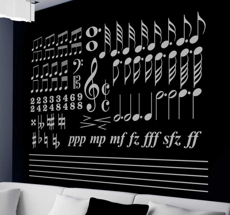 TenStickers. Solfeo Musical Sticker. A sticker with a collection of different characteristic elements of musical writing.