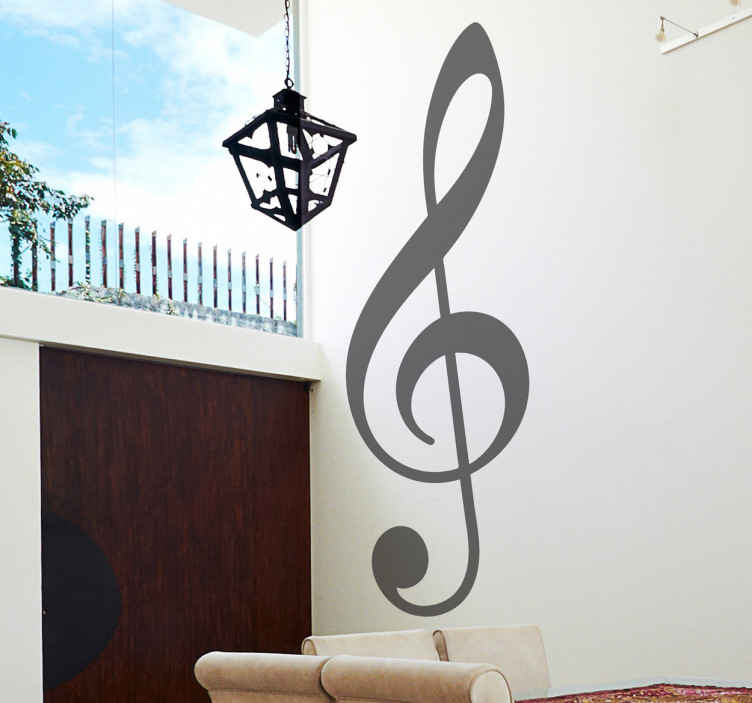 TenStickers. Glasbena ključna nalepka. Nalepka z glasbenimi stenami, ki ilustrira dekorativni element glasbene note. Sijajna enobarvna decal za tiste ljubitelje glasbe!