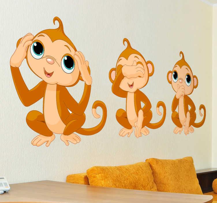 TenVinilo. Vinilo infantil tres monos. Adhesivo para niños con la clásica representación del chimpancé ciego, sordo y mudo.