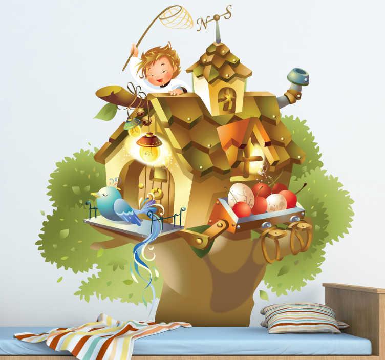 TenVinilo. Vinilo infantil ilustración casa árbol. Espectacular dibujo a todo color en adhesivo de un chico intentando cazar un lindo pájaro azul.