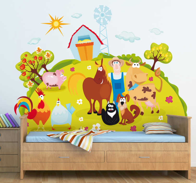 TenStickers. Kids Happy Farm Wall Mural. Kids Wall Stickers - Colourful and vibrant illustration of a farm with a happy bunch of animals including the farmer.