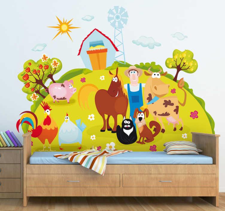 TenStickers. Naklejka dziecięca szcześliwy rolnik. Kolorowa naklejka przedstawiąca rolnika ze swoimi szczęśliwymi zwierzętami.