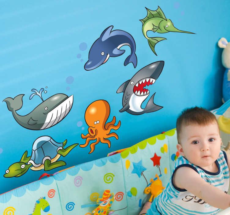 TenVinilo. Sticker infantil animales oceánicos. Colección de seis vinilos decorativos de distinta fauna marítima. Lámina de pegatinas en la que aparece una ballena, un pulpo y un tiburón entre otros.
