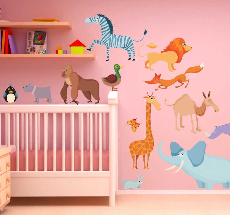 TENSTICKERS. 子供の動物の壁のステッカー. 子供の動物の壁のステッカー - 異なる野生動物を特色にする子供のための楽しい動物のステッカー!保育園のステッカーのコレクションの一部。