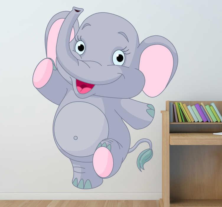 TenStickers. Naklejka dla dzieci młody słonik. Zabawna naklejka dekoracyjna przedstawiająca wesołego, młodego słonia z trąbą w górze. Wyprzedaż się kończy, zamów taniej teraz!