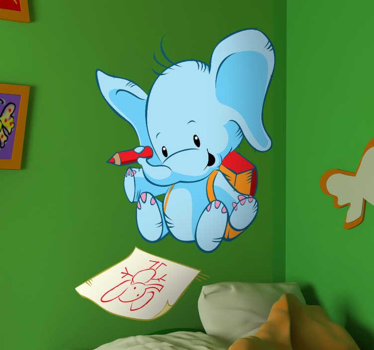 TenStickers. 코끼리 색칠 공부 스티커. 아이들을위한이 독창적 인 디자인은 독점 코끼리 벽 스티커의 일부입니다. 어린 아이들의 침실을 장식하고 미소 짓게하십시오!