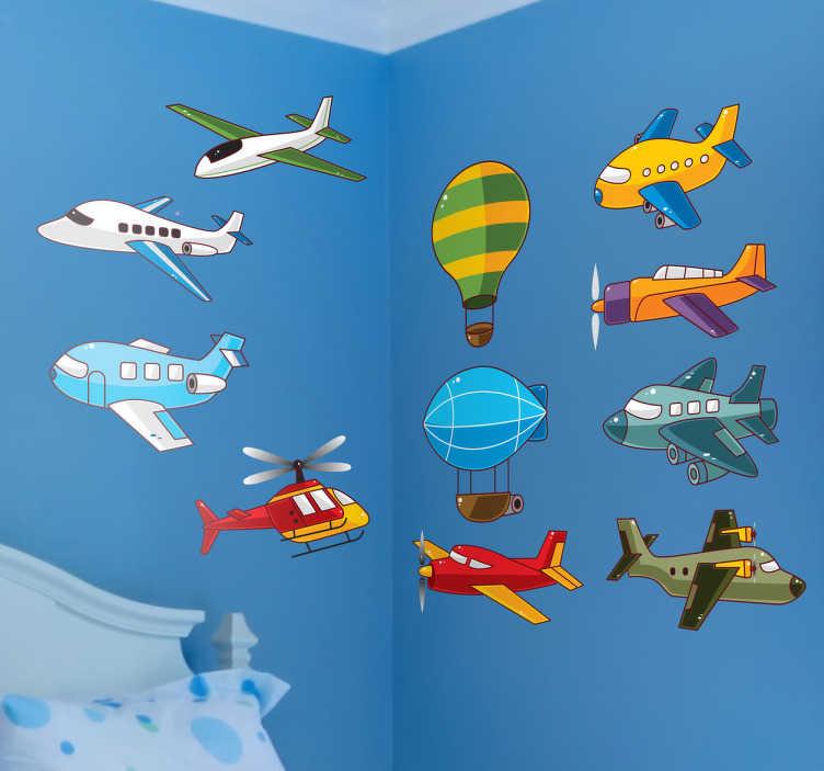 TenStickers. Adesivo decorativo infantil aviões. Adesivo infantil que ilustra diversos aviões coloridos e outras máquinas que permitem voar! Fácil de aplicar e de remover.