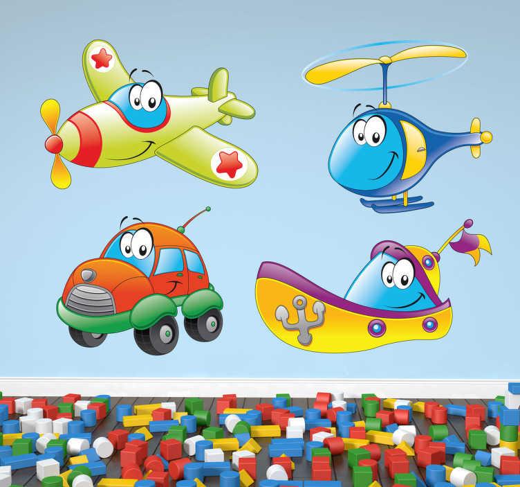 TenStickers. Lebendige Transportmittel Aufkleber. Das Wandtattoo stellt ein Flugzeug, einen Helikopter, ein Boot und ein Auto dar.