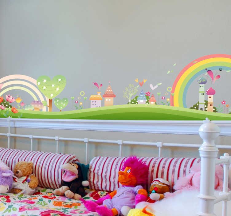 TenStickers. Sticker Kinderen fantasie dorp. Decoreer uw kinderkamer of speelkamer op een originele manier met behulp van deze prachtige muursticker. Een mooie interieursticker van een getekend dorpje voor kinderen.