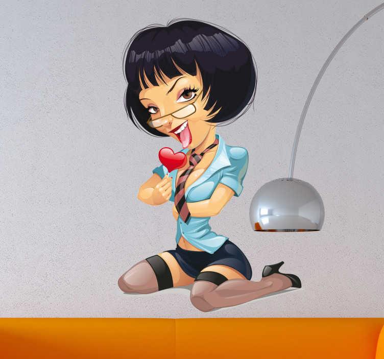 TenStickers. Sexy Cartoon Teacher Sticker. Sticker with a  very sensual teacher eating a delicious heart-shaped lollipop.