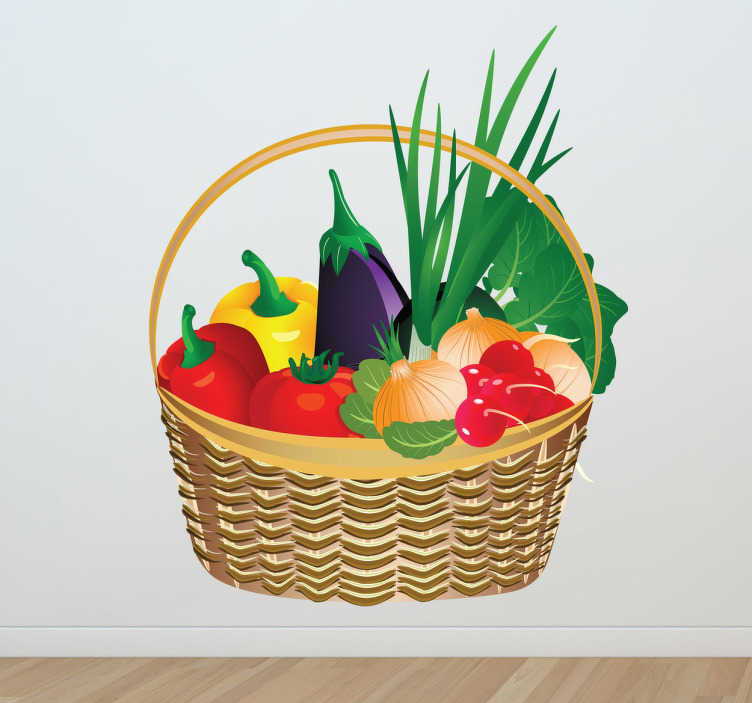 TenStickers. Vegetable Basket Wall Sticker. Kitchen Stickers - A basket full of fresh and colourful vegetables. Great for decorating your kitchen or cooking area to set the mood for preparing, cooking and eating food. This vibrant vegetable wall sticker shows a wicker basket full of peppers, a tomato, an aubergine and other healthy greens.
