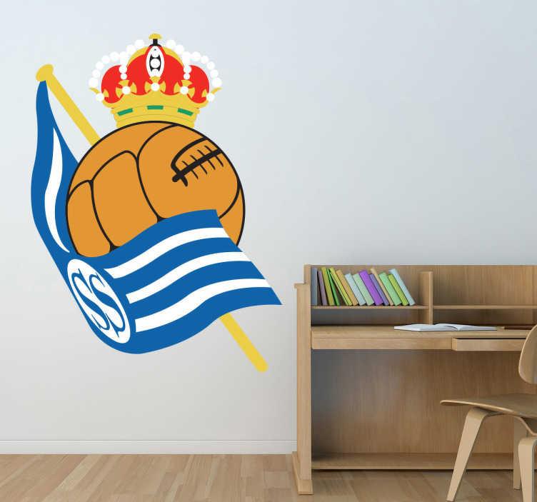 TenVinilo. Vinilo decorativo escudo Real Sociedad. Vinilo decorativo de tu equipo de fútbol, el Real Sociedad, para llevarlo siempre en el corazón. Y personalizar tu hogar.