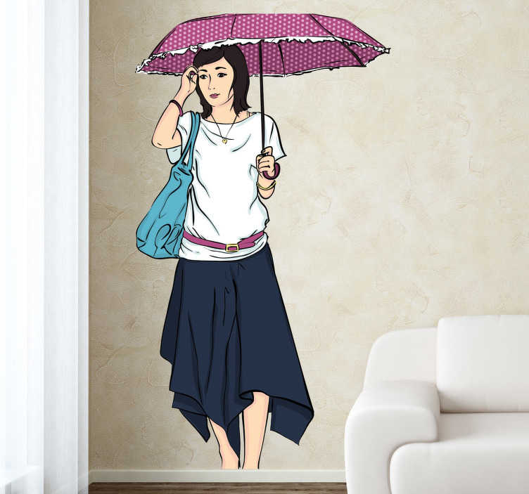 TenStickers. Frau mit Regenschirm Wandtattoo. Dekorieren Sie Ihr Zuhause mit diesem schönen, etwas melancholisch angehauchtem Wandtattoo einer im Regen spazierenden Frau.