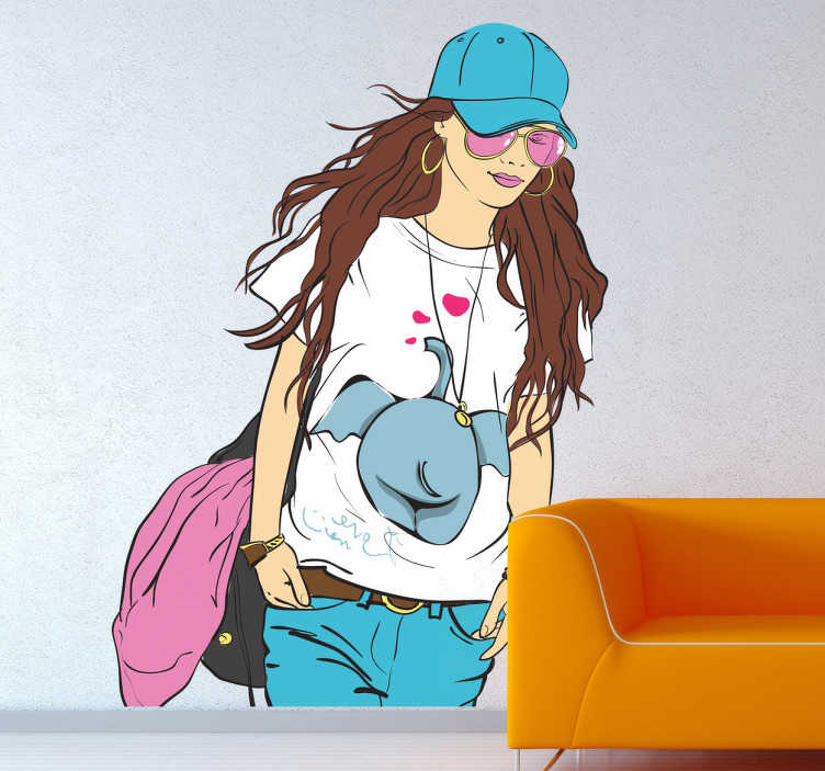 TenStickers. Casual and Chic Lady Wall Sticker. Wall Stickers - Original design of a casual young lady with a smile.