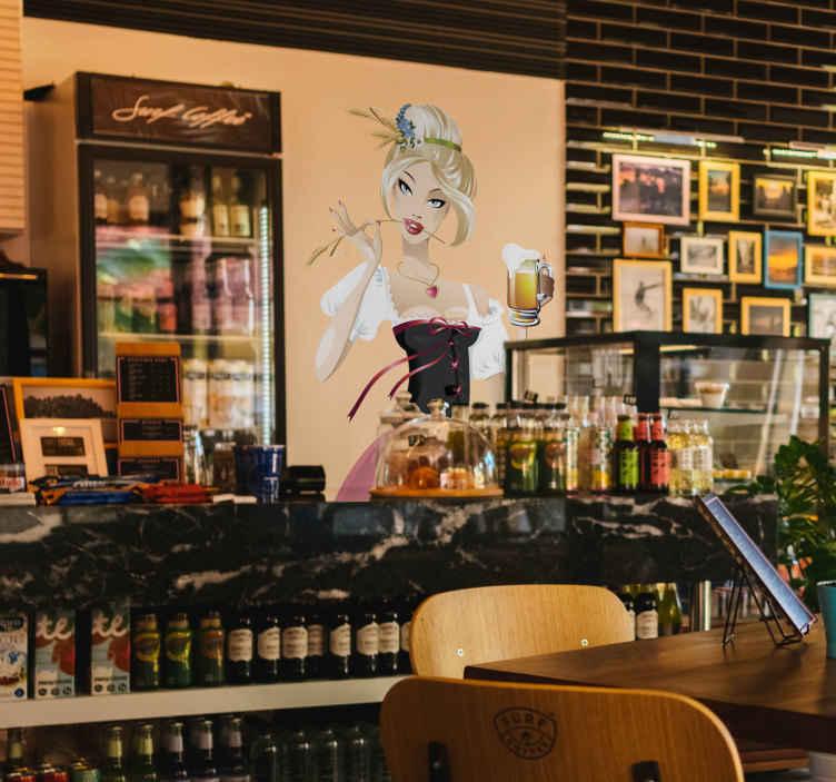 TenStickers. Wandtattoo Oktoberfest Dirndl. Wandtattoo für das Oktoberfest. Es zeigt ein Mädchen, dem das Bier in der Hand sehr gut schmeckt, mit tiefem Ausschnitt.