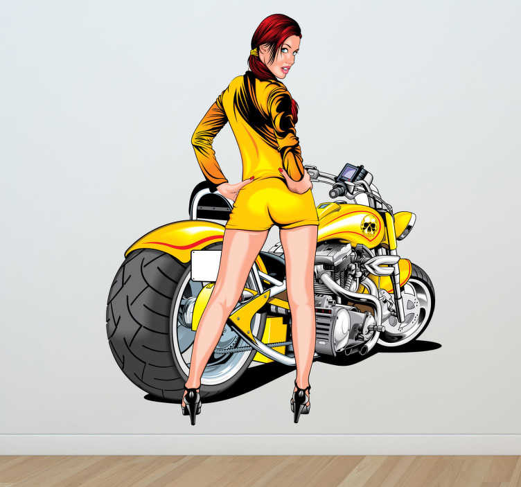 TenStickers. Sexy Motorbike Girl. Super-detailed illustration of a young woman in a short yellow dress and matching motorcycle behind.