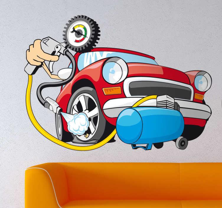 TenStickers. Sticker decorativo pressione gomme. Adesivo murale che raffigura un'automobile rossa accompagnata dal compressore dell'aria per i pneumatici.