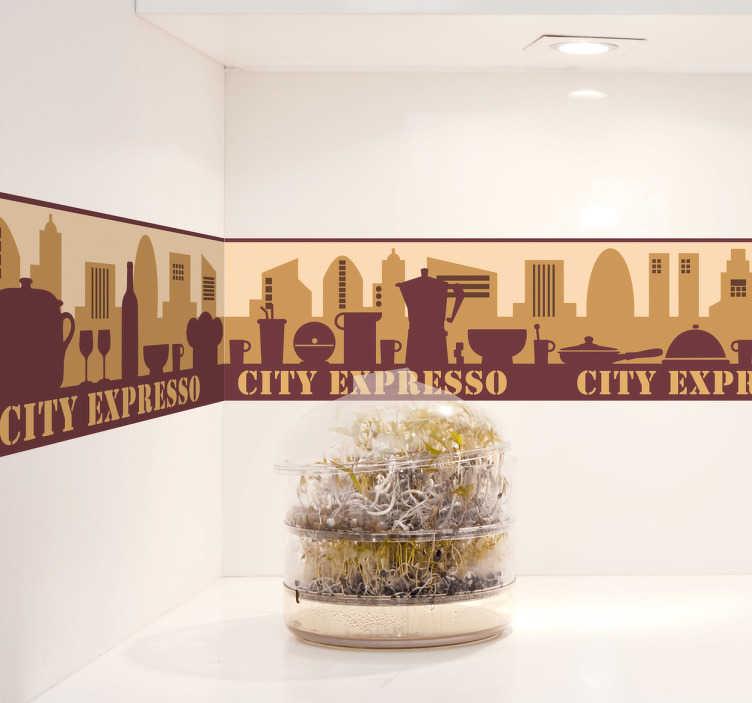 TenVinilo. Adhesivo cenefa city expresso. Espectacular patrón adhesivo de aire urbano y tonos marrones con varias siluetas de elementos como sartenes o tazas.