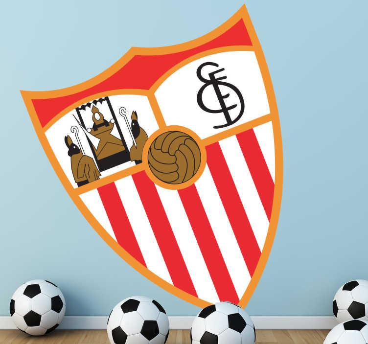 TenStickers. Adesivo murale scudo Sevilla FC. Sticker decorativo che raffigura il logo di una delle due più importanti squadre di calcio della città di Siviglia.