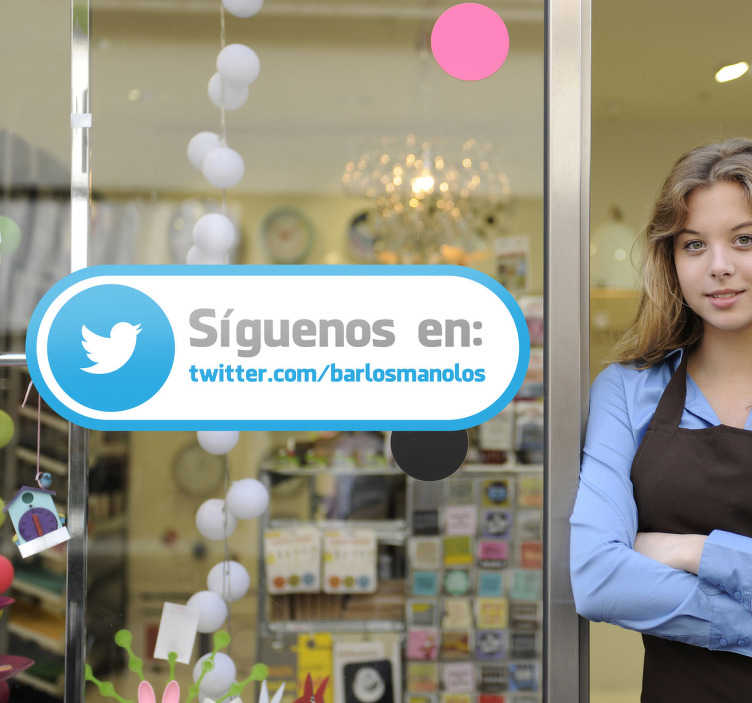 TenVinilo. Adhesivo etiqueta tienda twitter. Original pegatina para escaparate con el que harás que tus clientes te sigan en redes sociales. Haz que te sigan en Twitter.