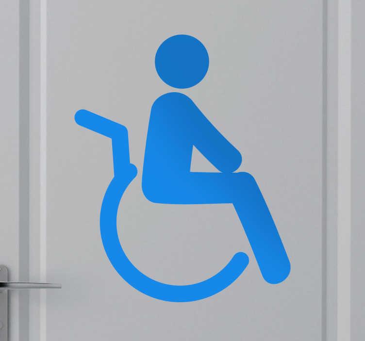 TenStickers. 禁用图标贴纸. 一个图标贴花,表示禁用的空间,如浴室。用这个装饰贴纸装饰合适的地方。